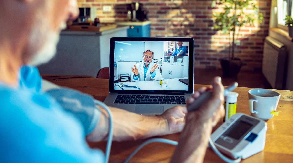 Telehealth patient with doctor