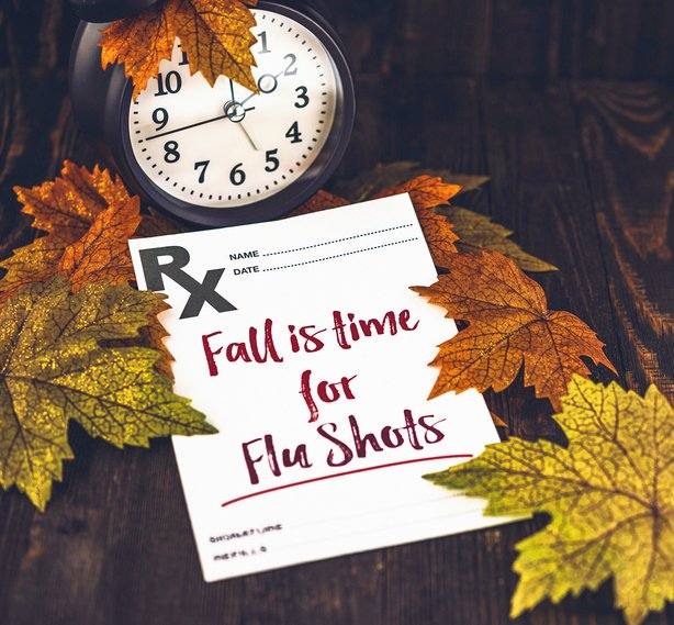 photo of clock and fall leaves of yellow and orange with prescription stating Fall is time for Flu shots