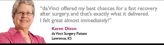 Karen Dixon, da Vinci Surgery Patient, Lawrence Memorial Hospital
