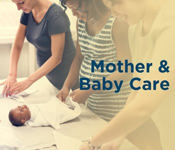 Mothers learning about baby care