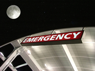 Emergency Department sign with moon