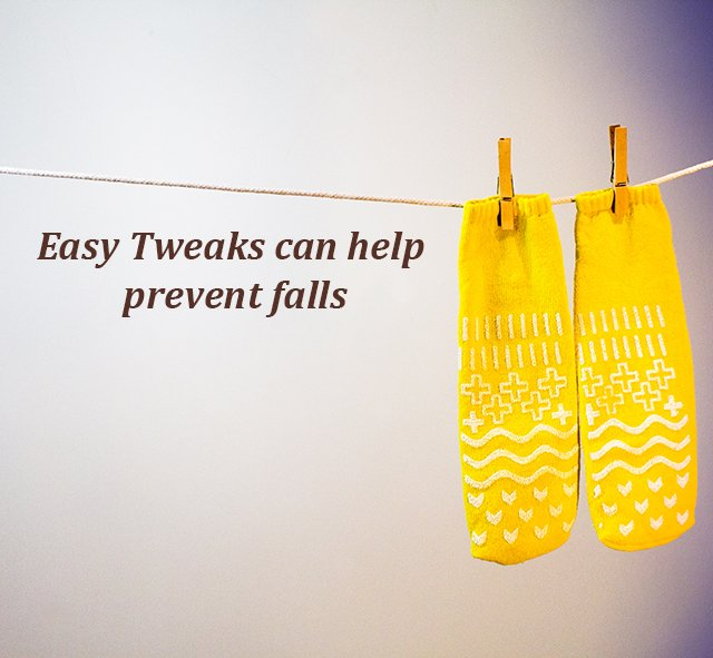 Easy Tweaks can help prevent falls with photo of yellow socks