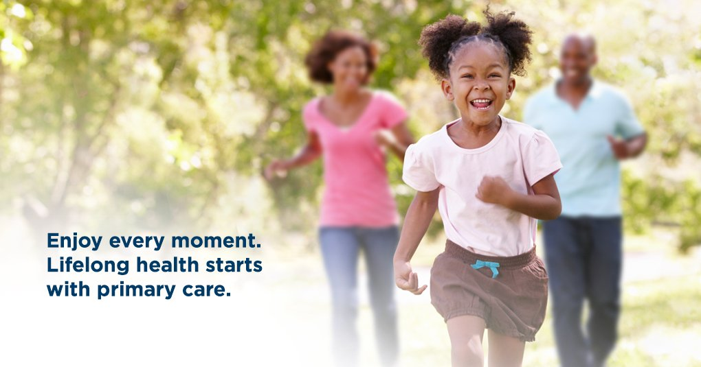 Image of a healthy family running together with headline message: Enjoy every moment. Lifelong health starts with primary care.